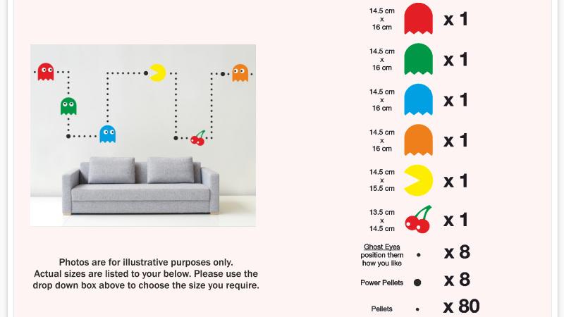 Pacman Wall Mural Sticker Kit Retro Vinyl Kids Games Decal